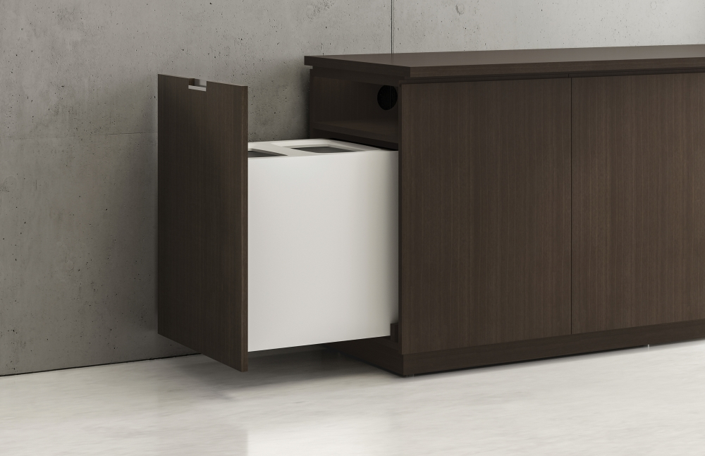 Preview of Performance Credenza   Utility Credenza   G30 Zinc Walnut Veneer   Pull Out Trash Detail
