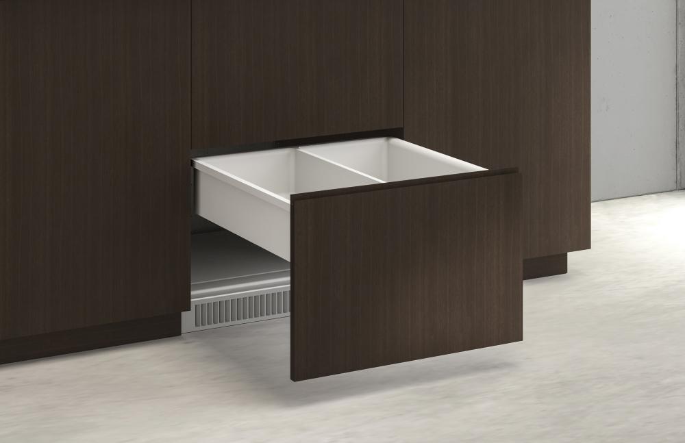 Preview of Performance Credenza | Utility Credenza | G30 Zinc Walnut Veneer | Refrigerator Drawer Front Detail