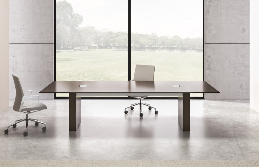 Preview of Flow | Conference Table | G25 Natural Walnut Veneer | Rectangle Base| Medium Size Power Matrix