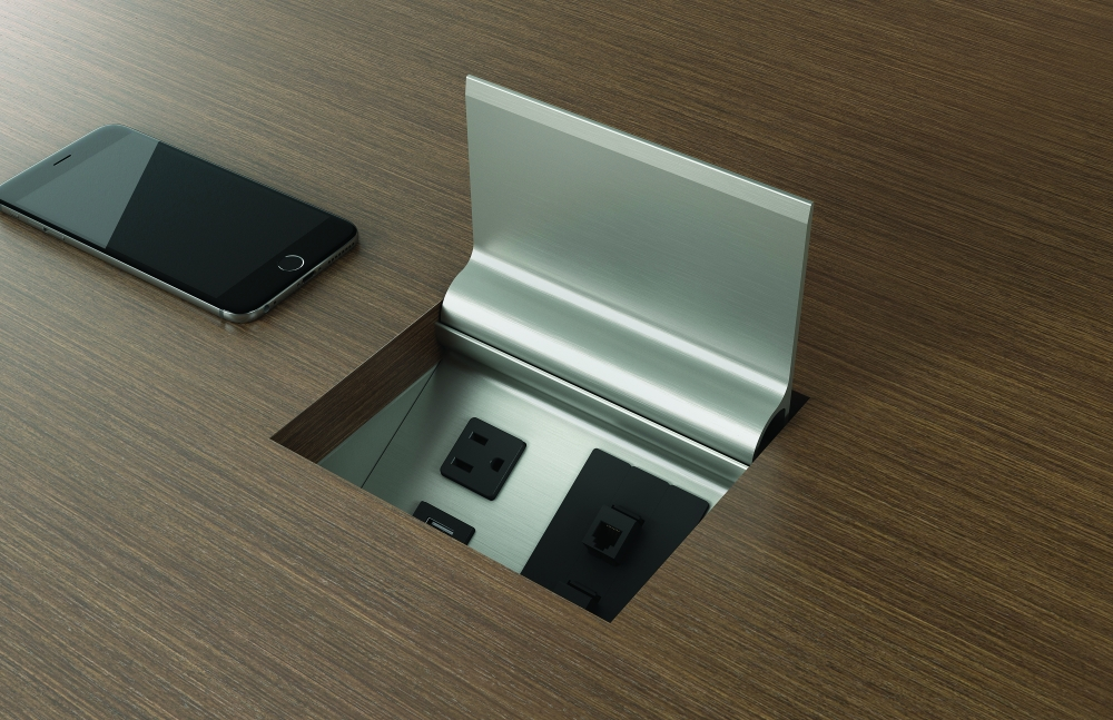 Preview of Power Matrix | Veneer Door | Small Size | 1 Simplex, 1 Dual USB, 2 Data Connectors | Phone