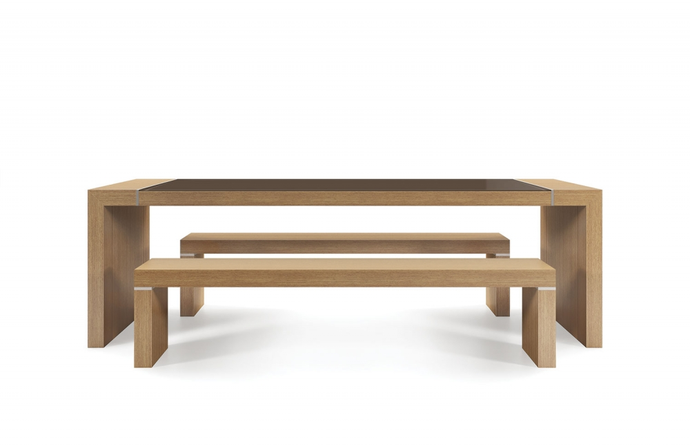Preview of Tesano | Community Table | 30 Inch Seated Height | Oak Linea  FInish | Clove Gloss Back Painted Glass | Clear Anodized aluminum