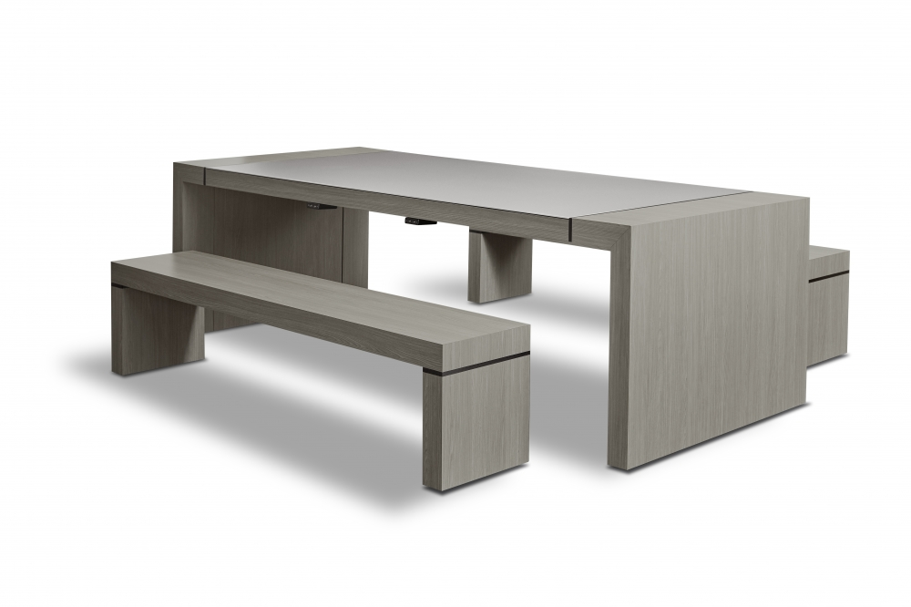 Preview of Tesano | Community Table | Custom | Weathered Ash Laminate | Seated Height Table | Whitesweep