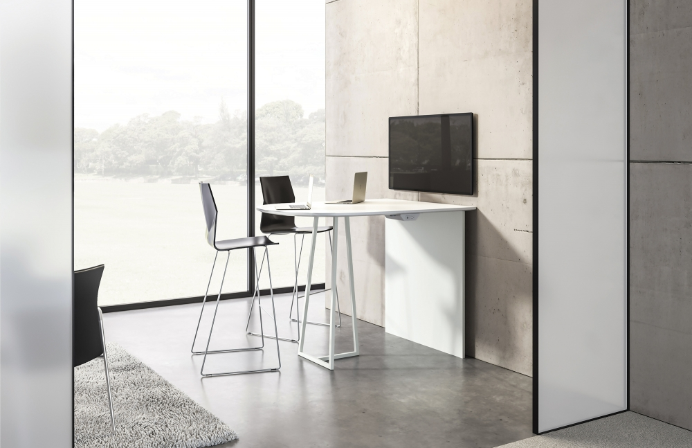 Preview of Two4Six | Media Table | D-Shaped Laminate Top | Standing Height