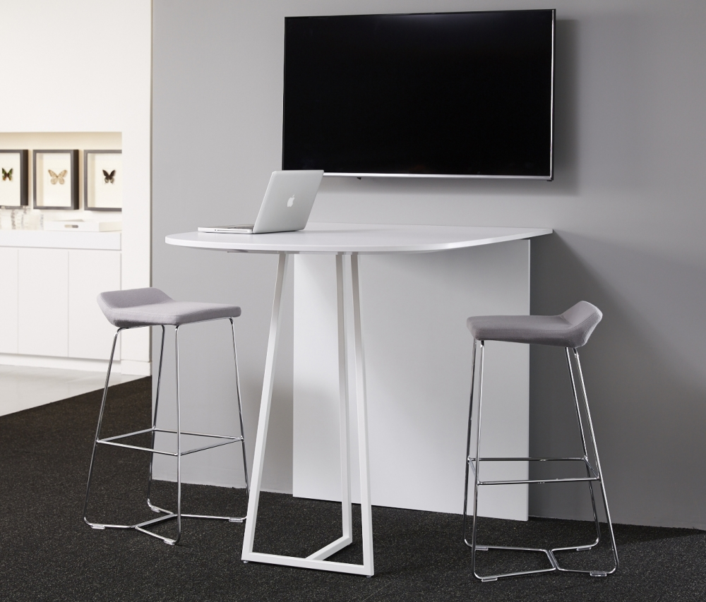 Preview of Two4Six | Media Table | D-Shaped Laminate | Cloud Powdercoat Open Frame Base | Standing Height