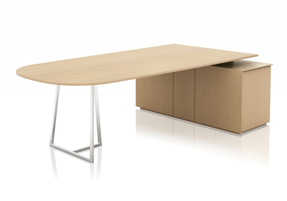 Preview of Two4Six | Meeting Table | D-Shaped Veneer Top | Credenza and Open Frame Base | Seated Height