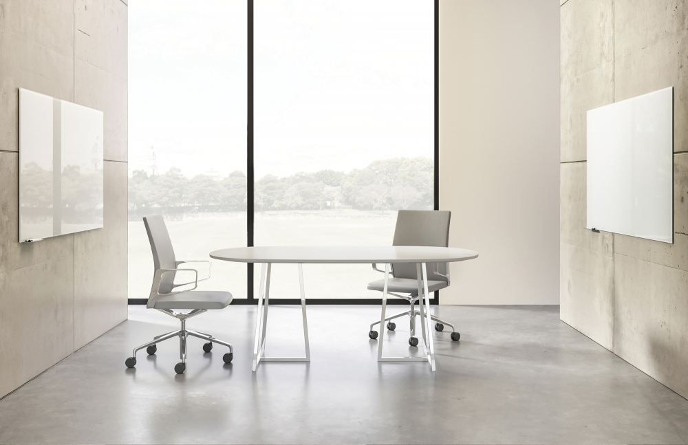Preview of Two4Six | Meeting Table | Soft Rectangle Laminate Top | Open Frame Base | 2 Chairs