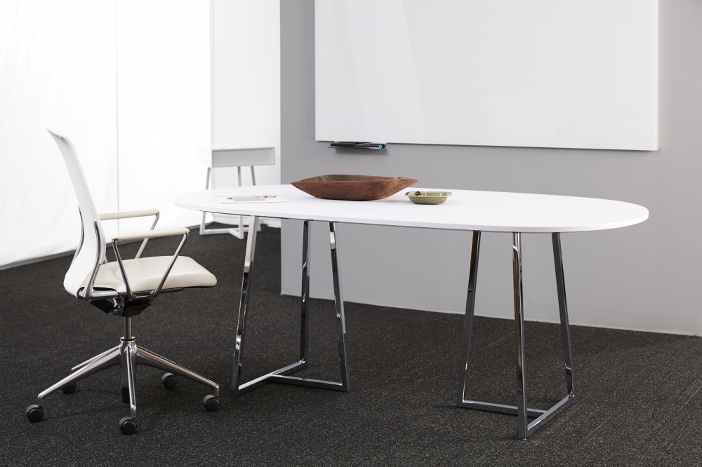 Preview of Two4Six | Meeting Table |Soft Rectangle Brite White Laminate | Polished Chrome Base
