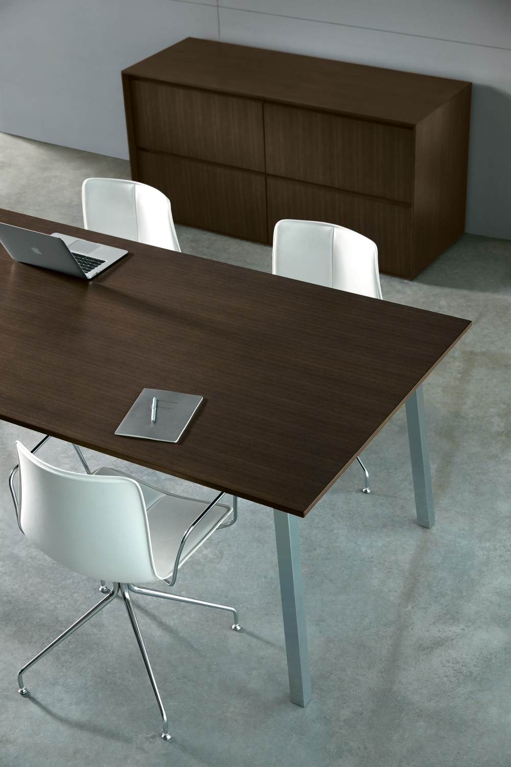 Preview of Two4Six | Meeting Table | Veneer | Polished Chrome Post Legs | Matching Credenza