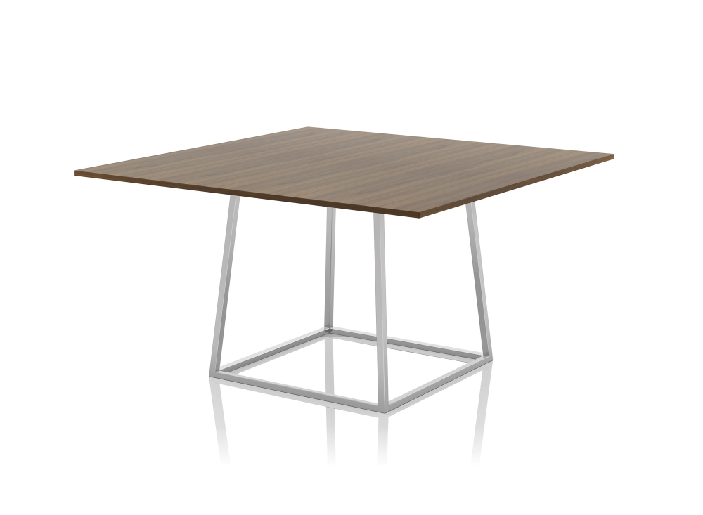 Preview of Two4Six | MeetingTable | Square M35 Marron Walnut Veneer Top | Clear Anodized Open Frame Base