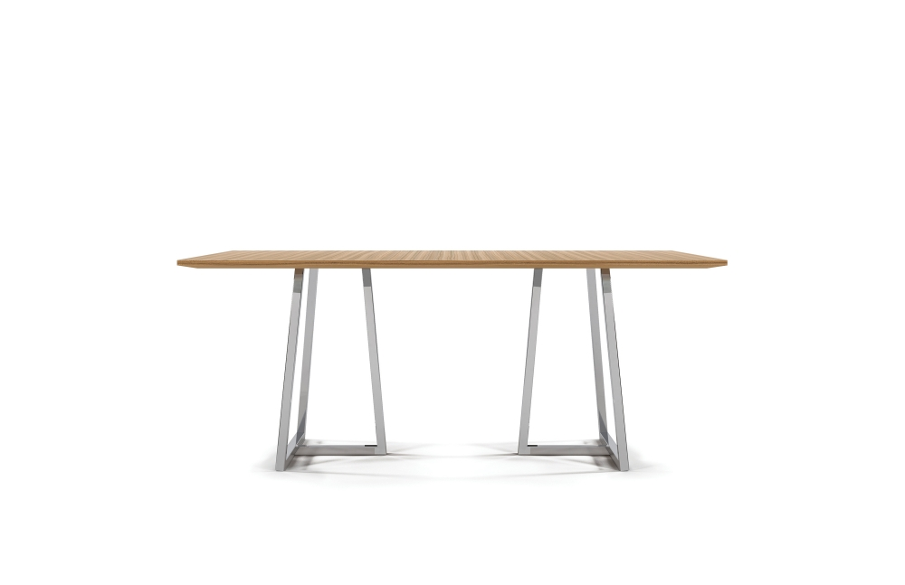 Preview of Two 4 Six | Meeting Table | Rectangle Paldao Veneer | Polished Metal Open Frame Base