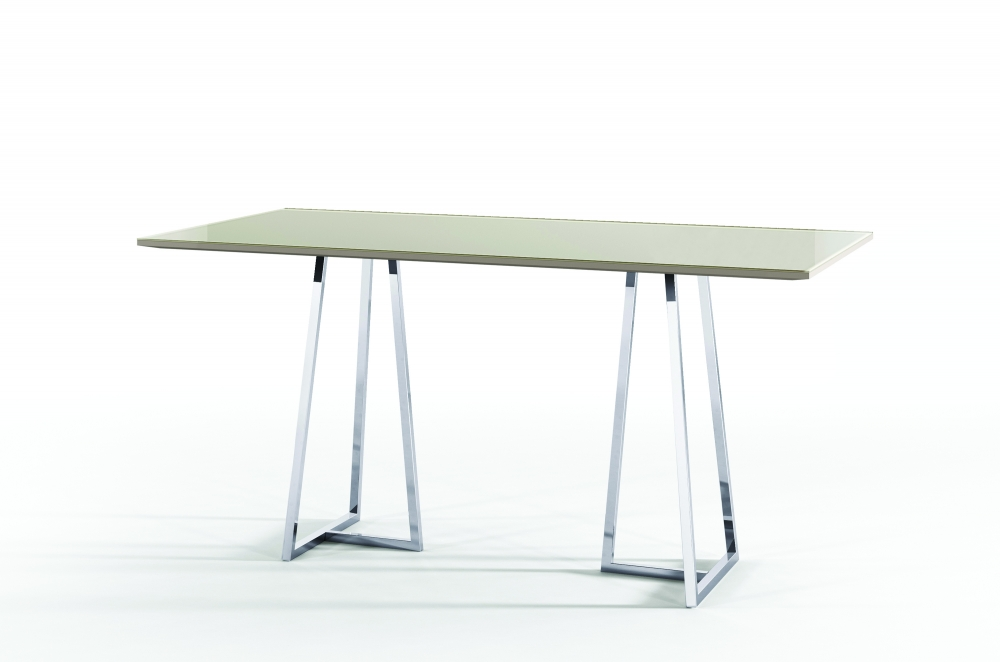 Preview of Two 4 Six | Rectangle Glass Top | Polished Metal Open Frame Base