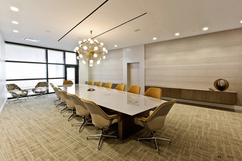 Preview of Flow | Conference Table | Boat Shape White Glass Top | Veneer Rectangle Base | Orion Jet Center