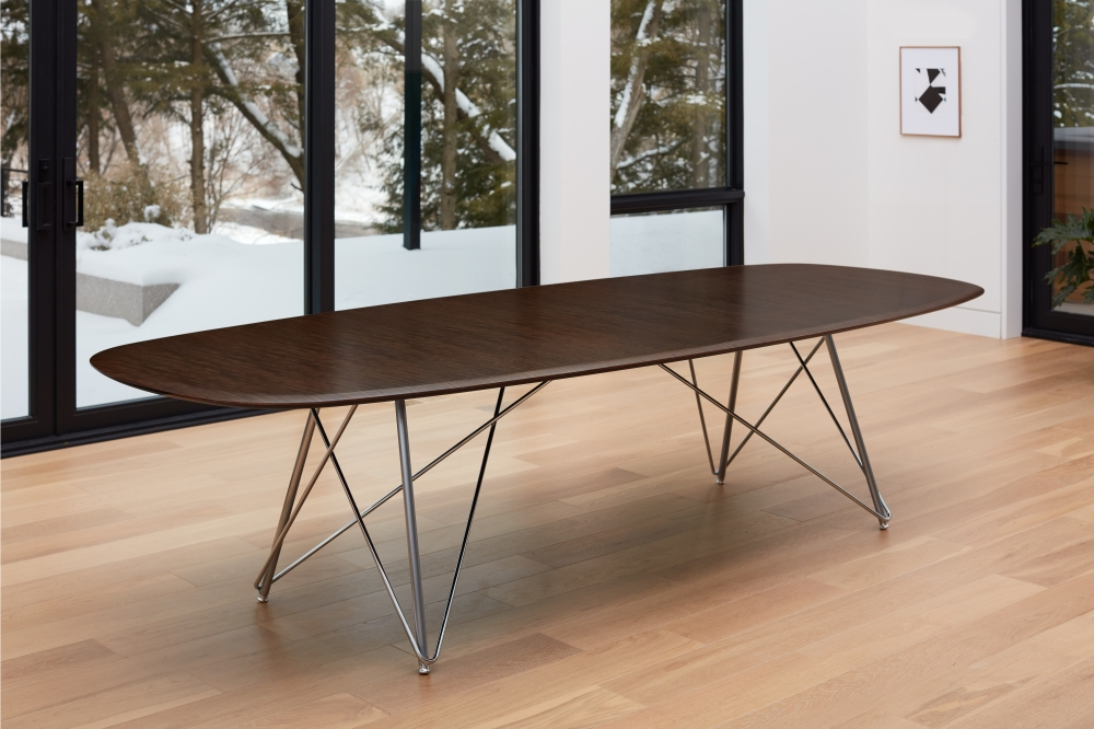 Preview of Baja | Conference Table | Soft Rectangle Veneer Top | Chrome Wire Frame Base