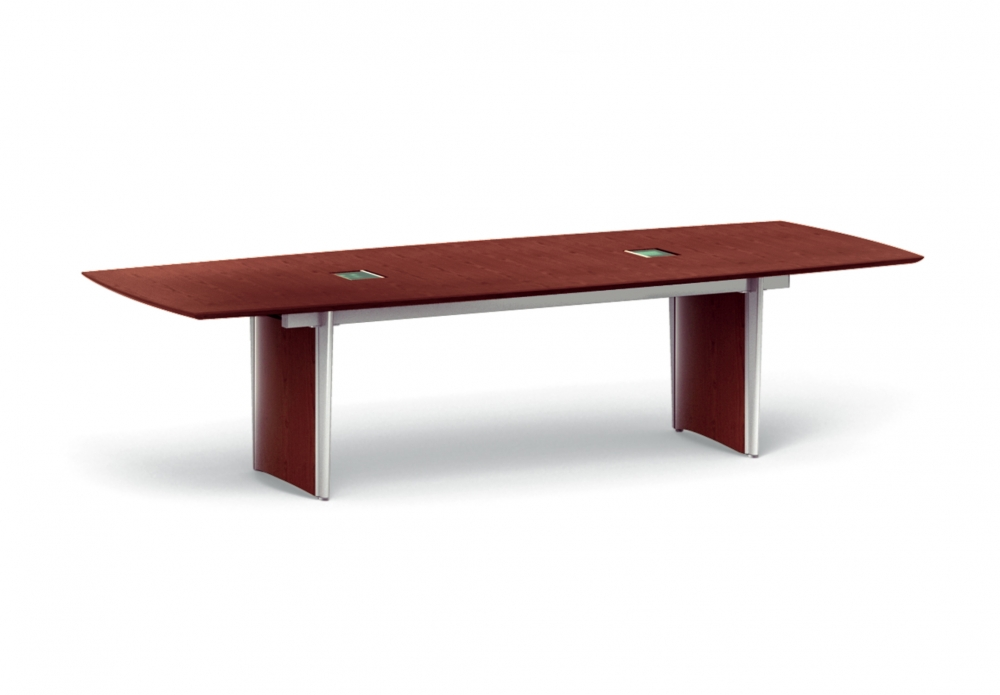 Preview of Saber | Conference Table | Boat Shape G25 Natural Walnut | Panel Base | Side View