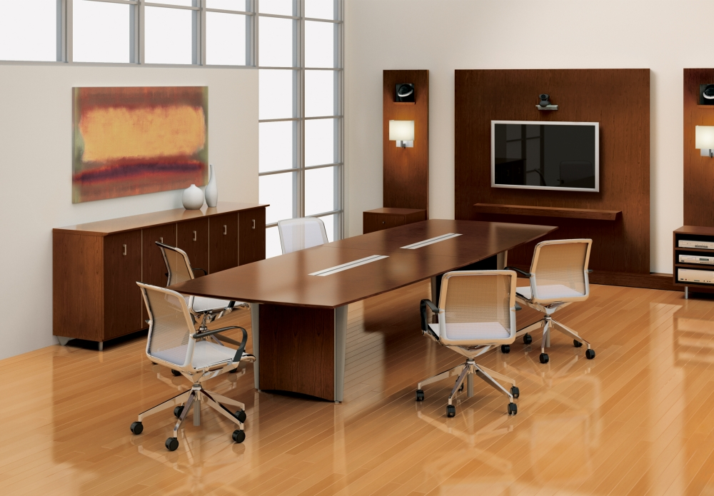 Preview of Saber | Conference Table | Boat Shaped Natural Walnut Veneer Top | Panel Base with Foil Powdercoat Detail