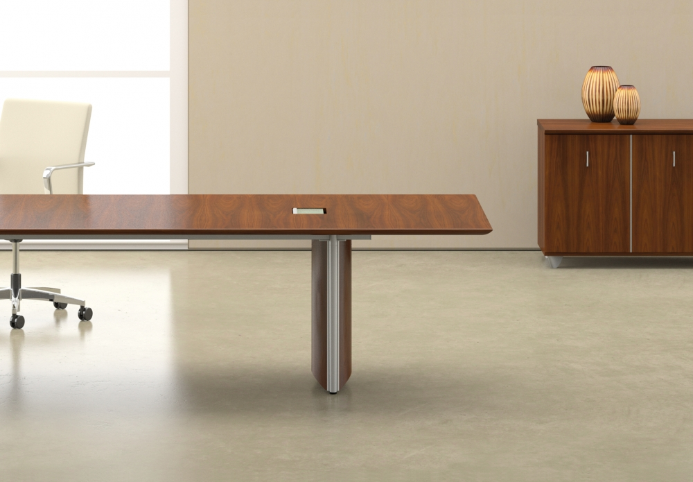 Preview of Saber | Conference Table | Veneer Rectangle Shape Top | Veneer Panel Base