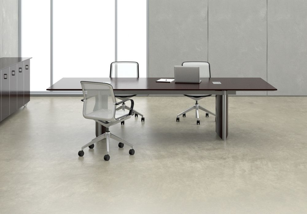 Preview of Saber | Conference Table | Rectangle Shaped Natural Walnut Veneer Top |  Panel Veneer Base