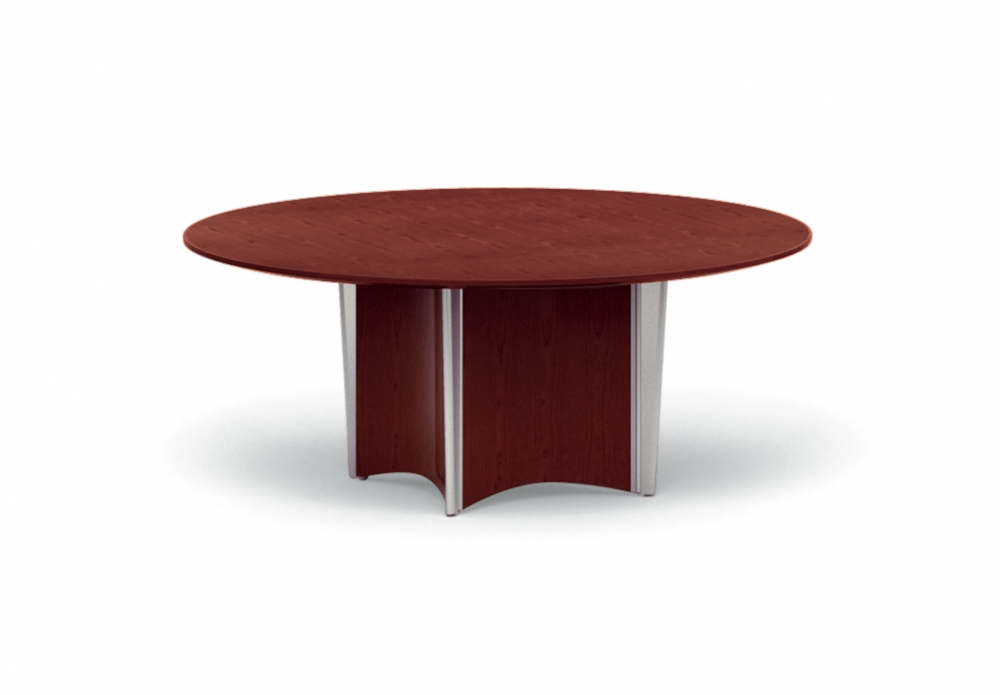 Preview of Saber | Conference Table | Round Veneer Top | Concave Column Base