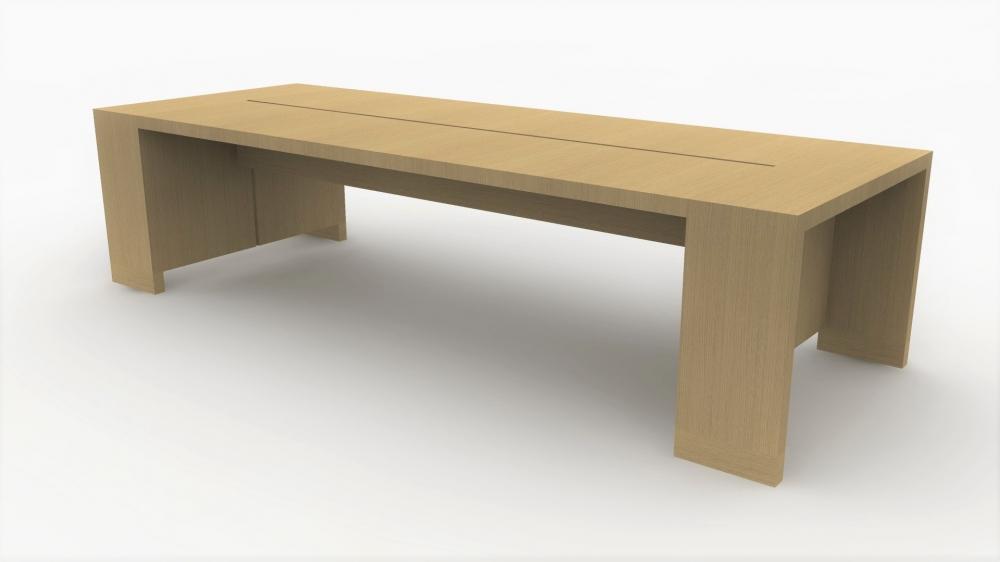 Preview of Preston | Community Table | Dune Flat Cut Oak Veneer | Seated Height | Rendering