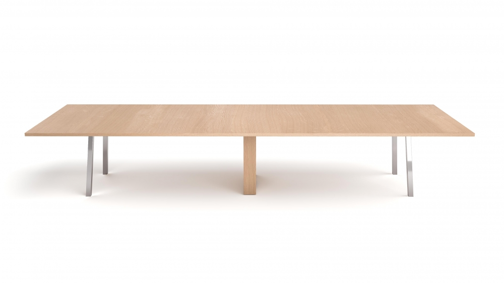 Preview of Two4Six Meeting | Meeting Table | Laminate Top | Polished Chrome Metal Post Legs and Rectangle Center Bas