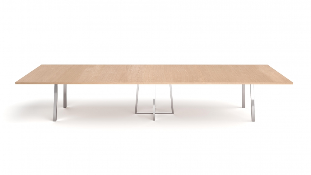 Preview of Two4Six Meeting | Meeting Table | Laminate Top | Polished Chrome Metal Post Legs and Open Frame Center Base