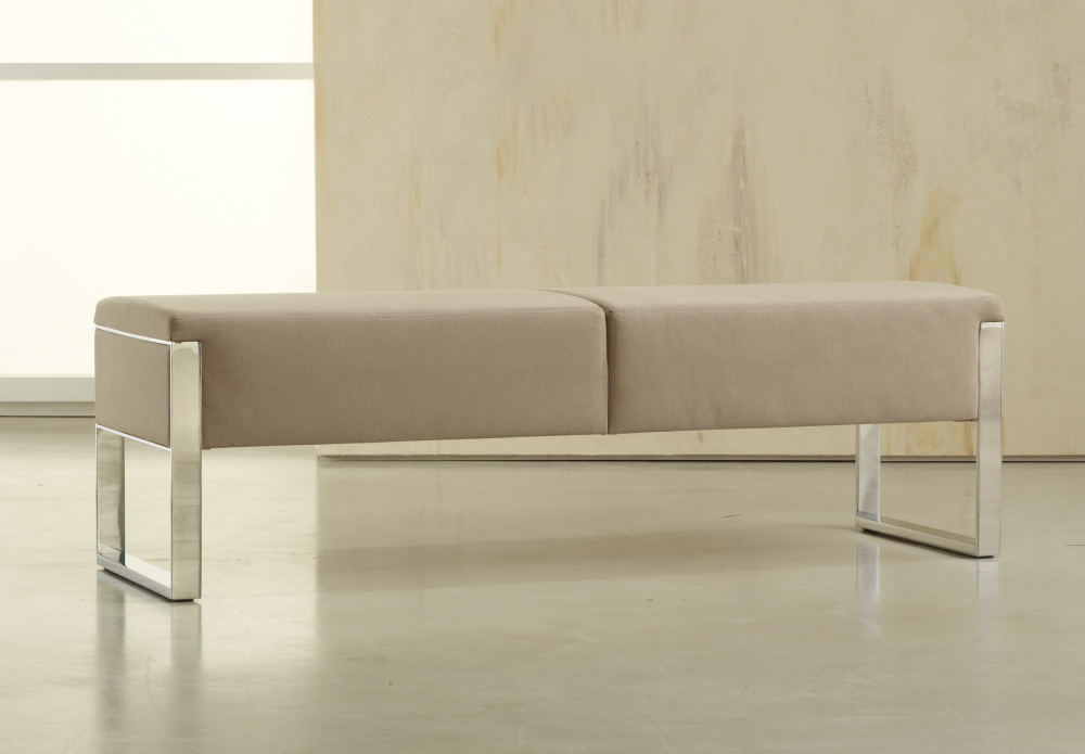 Preview of Talis | Bench | Custom Fabric | Polished Chrome Base