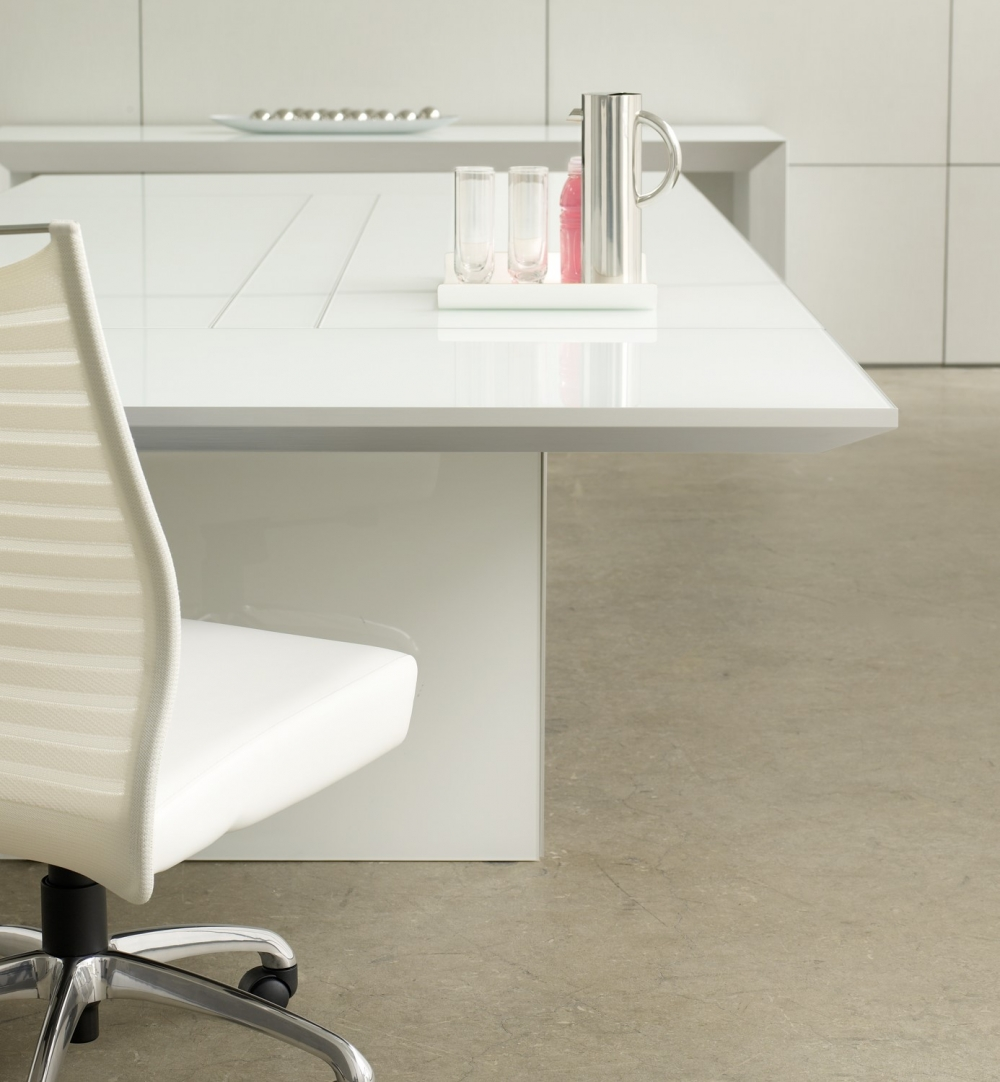 Preview of Tavola | Conference Table | White Glass Top | Side View