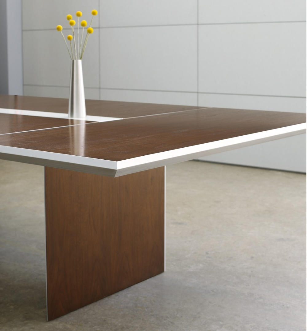 Preview of Tavola | Conference Table | G33 Mocha Walnut Veneer | Clear Anodized Detail | Side View