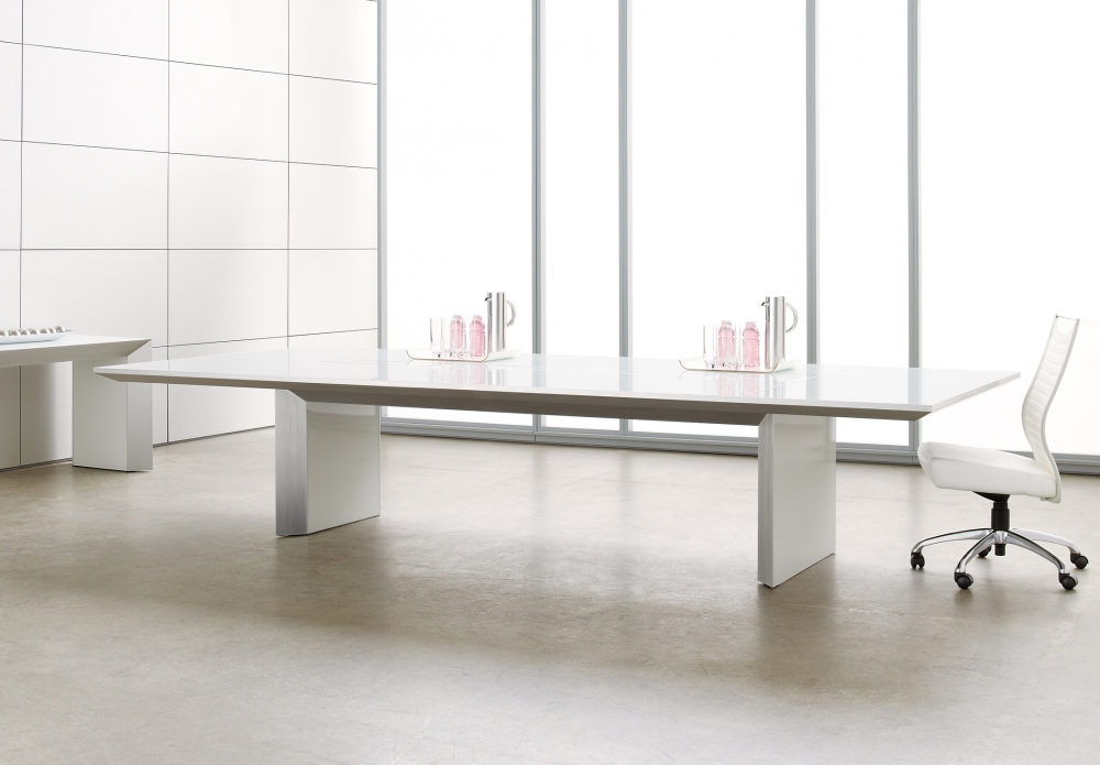 Preview of Tavola   Conference Table   White Glass Rectangle Top   With Chair