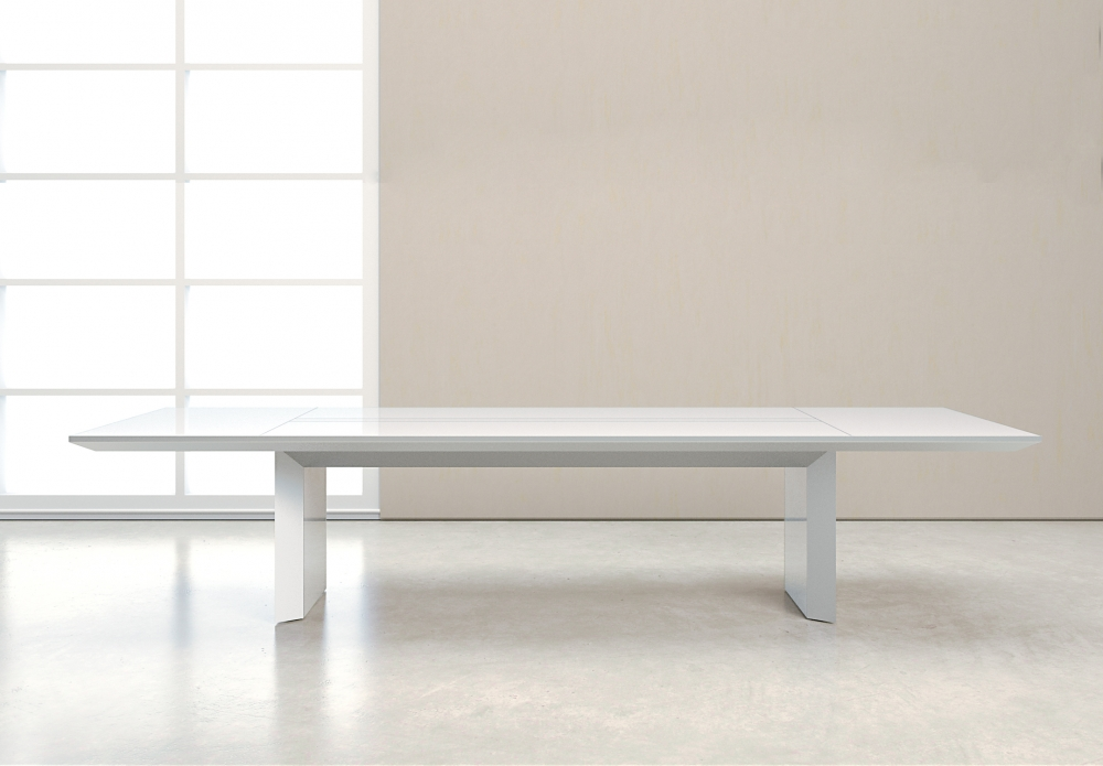 Preview of Tavola | Conference Table | White Glass Rectangle Top
