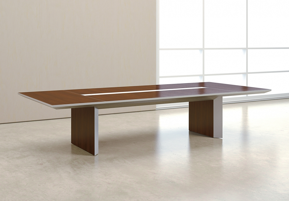 Preview of Tavola | Conference Table | G33 Mocha Walnut Veneer Rectangle Top | Clear Anodized Metal