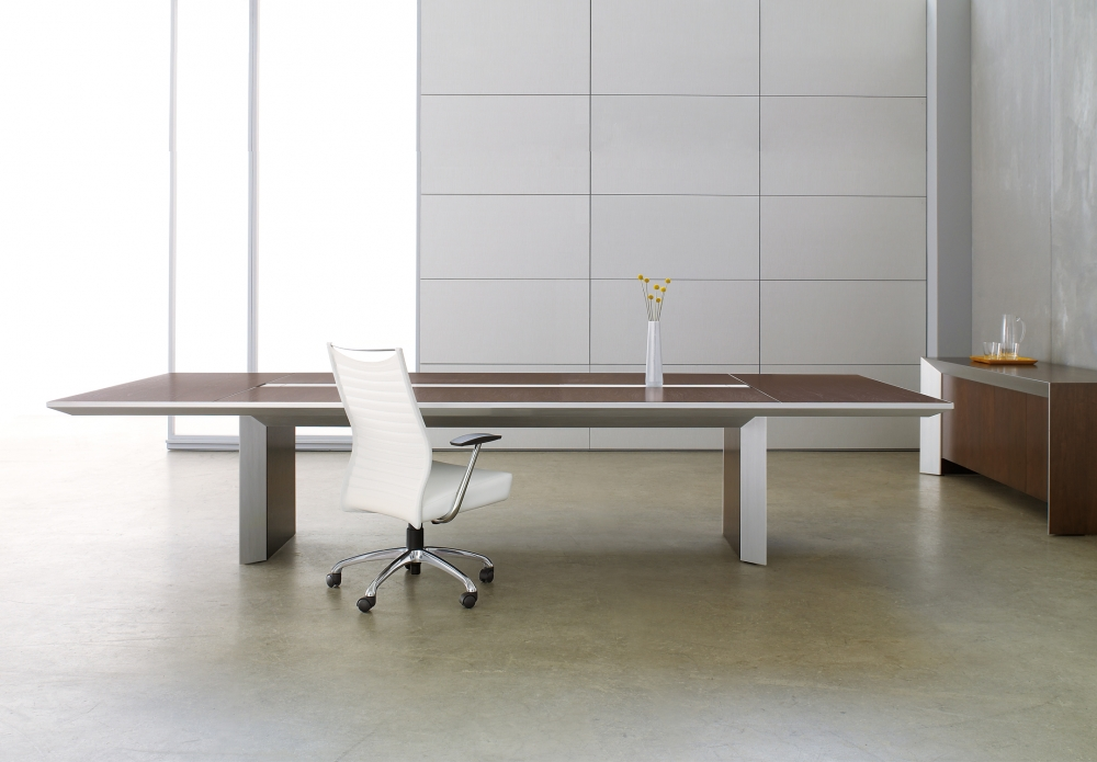 Preview of Tavola | Conference Table | G33 Mocha Walnut Veneer Rectangle Top | Clear Anodized Metal | With Matching Credenza