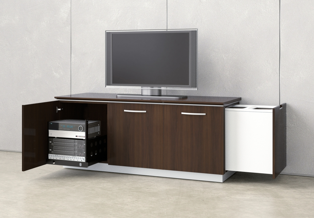 Preview of Performance Credenza | Utility Credenza | M26 Walnut Veneer | Technology Equipment Rack