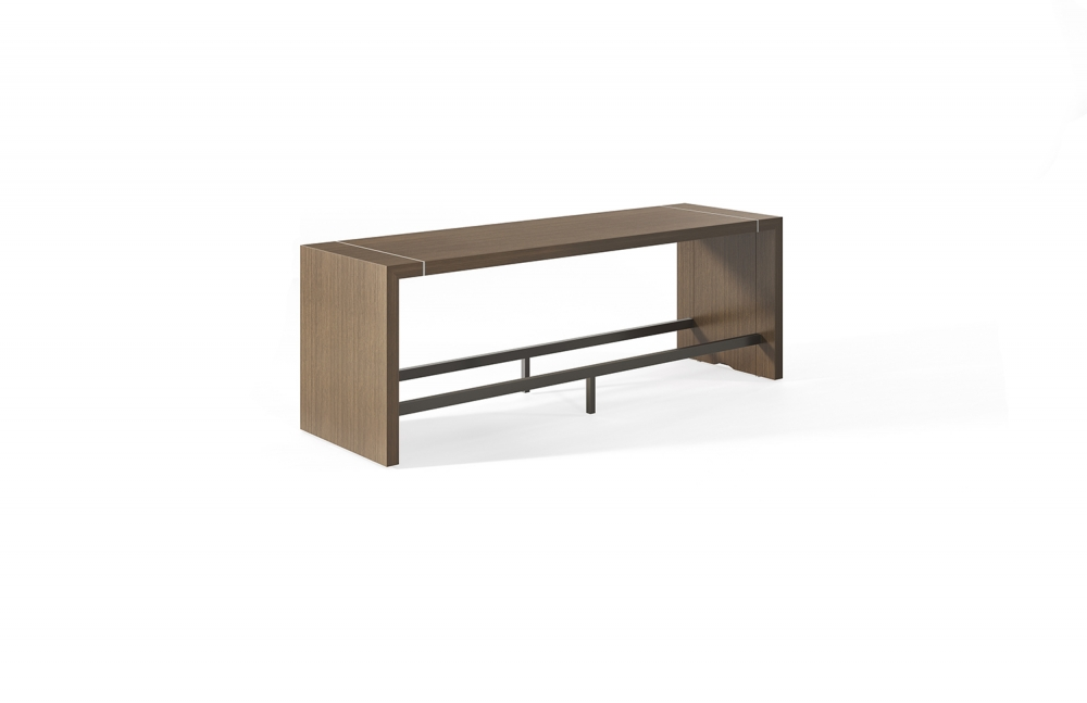 Preview of Tesano | Community Table | Oak Linea Veneer | Standing Height | Footrail