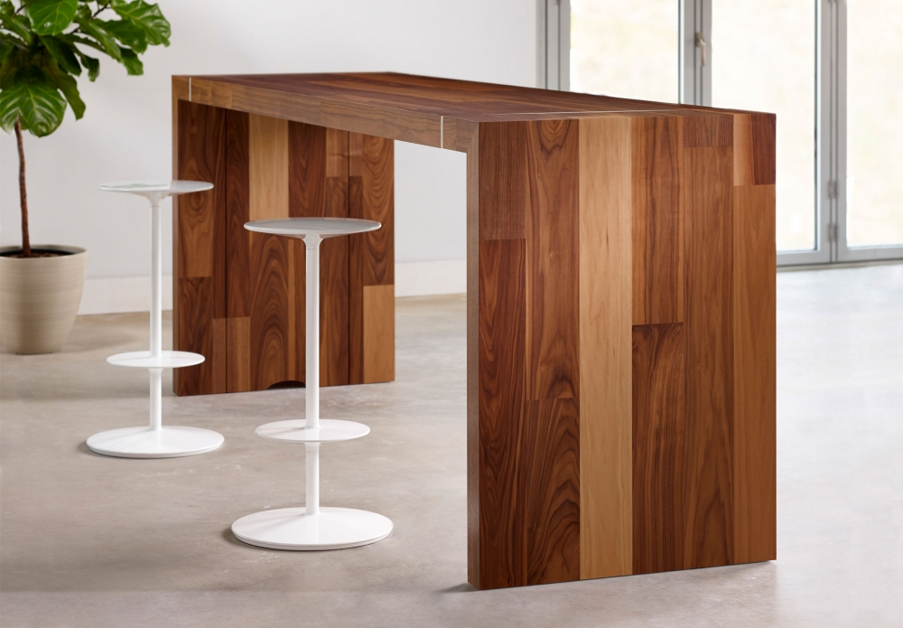 Preview of Tesano | Community Table | Planked Veneer | Standing Height | With Stools