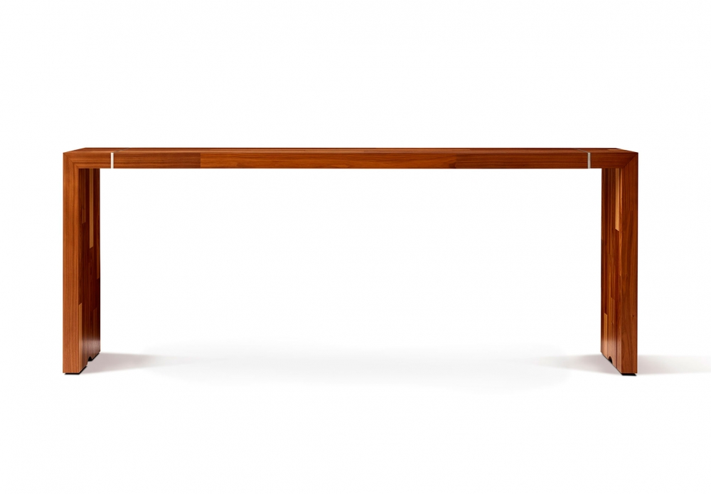 Preview of Tesano | Community Table | Planked Veneer | Standing Height | Side View