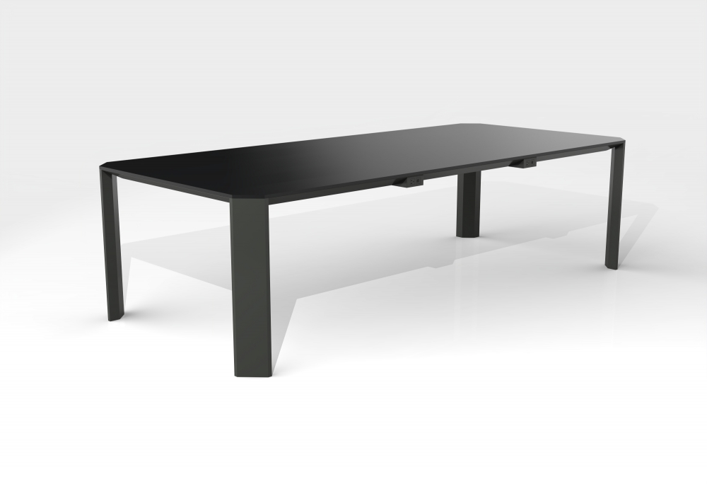 Preview of Tova | Conference Table | Rectangle Black Glass Top | Black Powdercoat Base