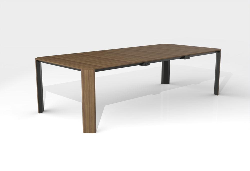 Preview of Tova | Conference Table | Rectangle Walnut Veneer Top | Storm Powdercoat Metal Accents
