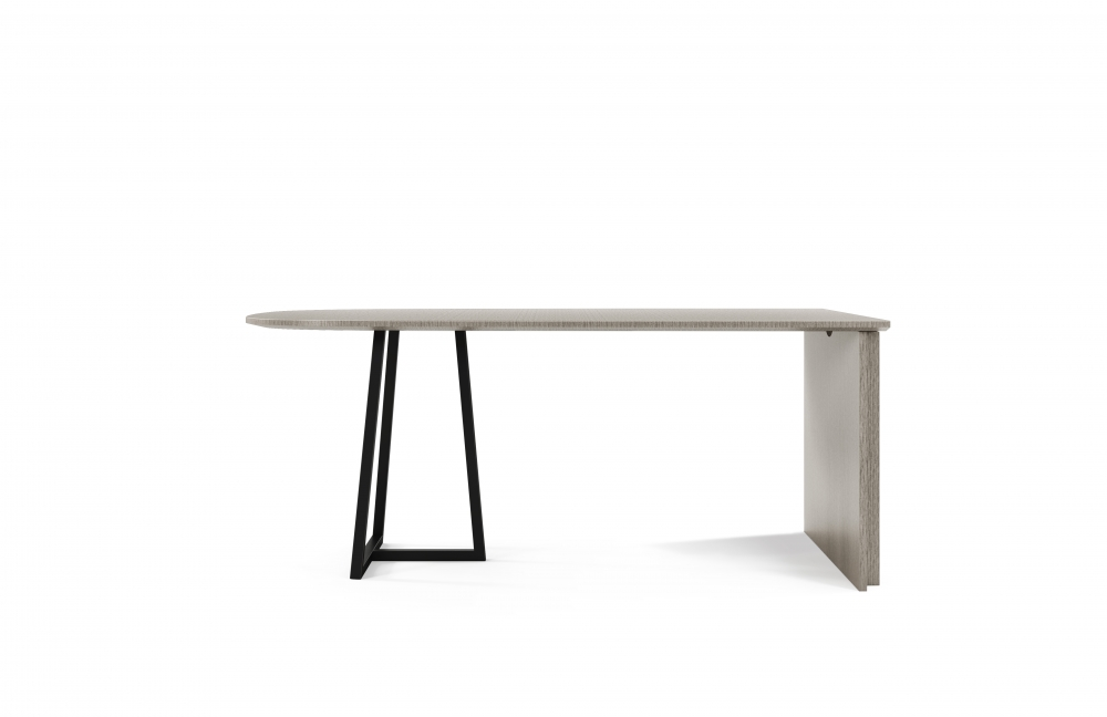 Preview of Two4Six | Meeting Table | D Shape Silver Birch Linea Top | Black Powdercoat Open Frame Base