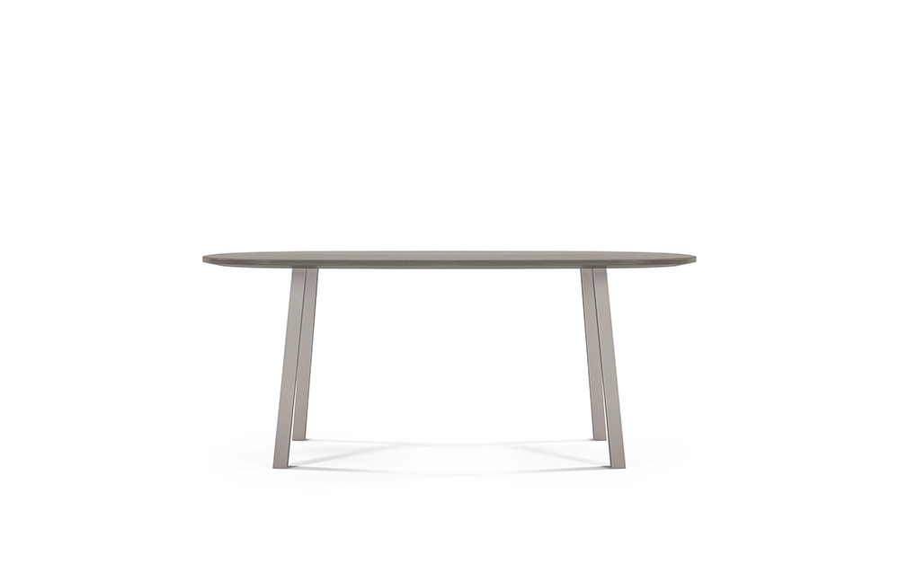Preview of Two 4 Six | Veneer | Soft Rectangle Top | Polished Chrome Metal Post Legs