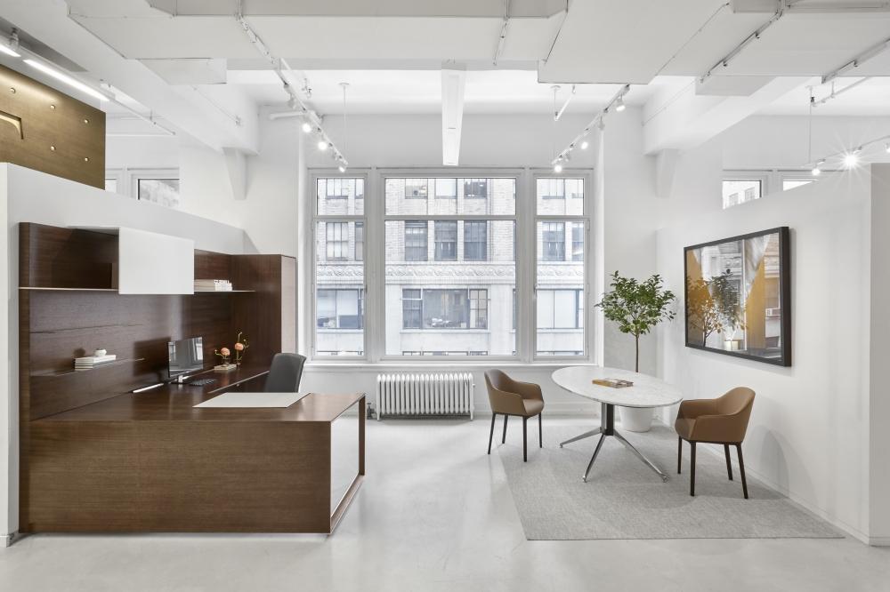 Preview of Merino | Casegood | Veneer | Side View | Ellipse Stone Meeting Table | New York Showroom