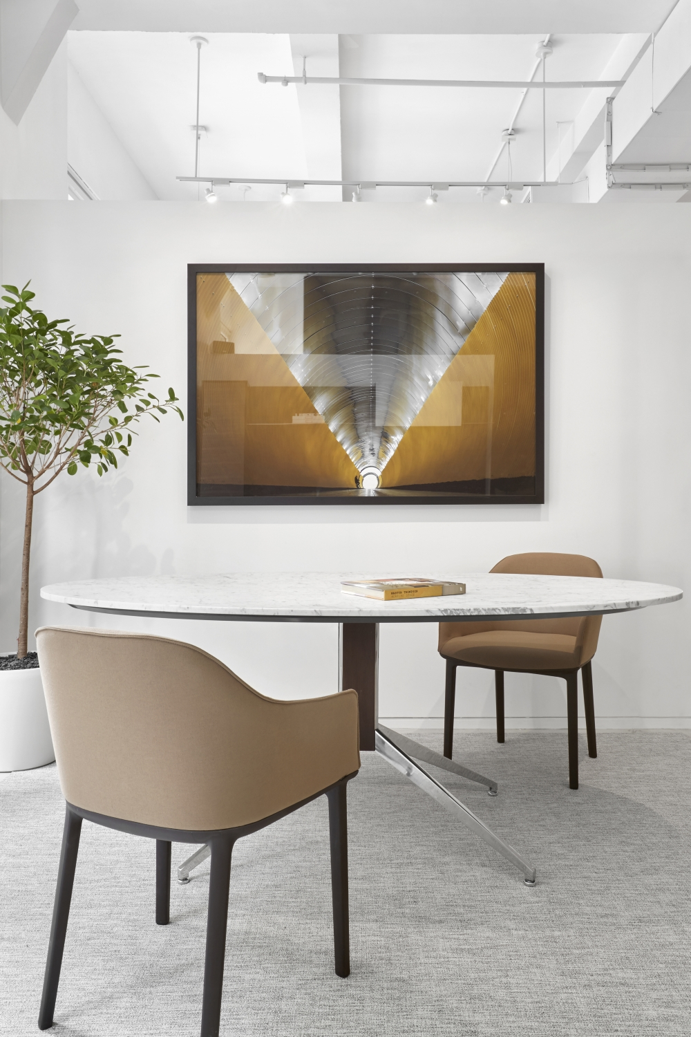 Preview of Merino | Meeting Table | Ellipse Stone Top | Polished Chrome Base