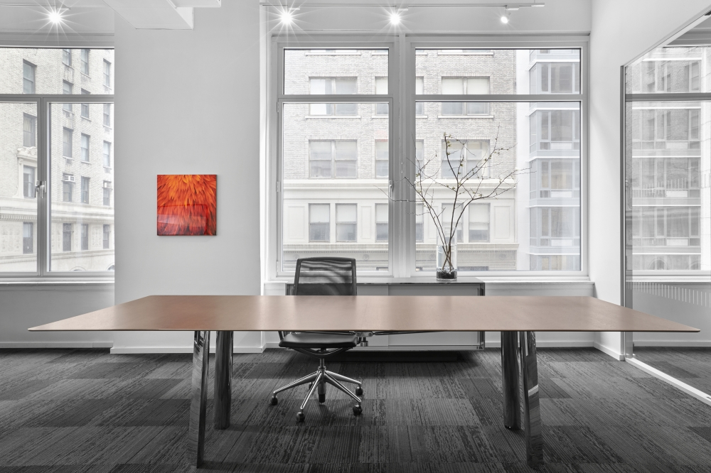 Preview of Kai | Conference Table | M27 Walnut Linea Veneer Top | Polished Chrome Legs | New York Showroom