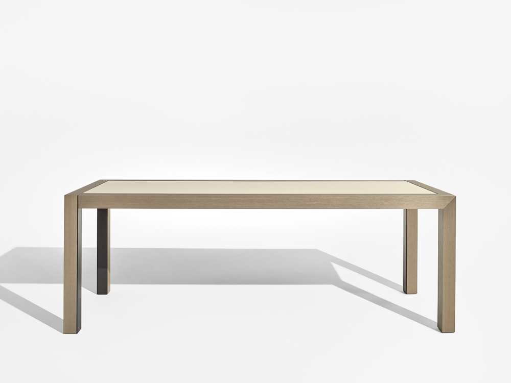 Preview of Epono | Community Table | Silver Birch Linea | Linoleum Top | Storm Powdercoat Metal Accents | Standing Height | Side View