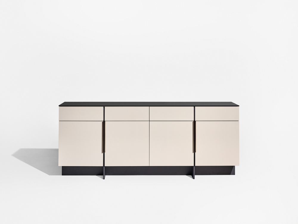 Preview of Forena | Conference Height Credenza | Black Satin Etched Glass Top | Moonlight Lacquered Polyester Case