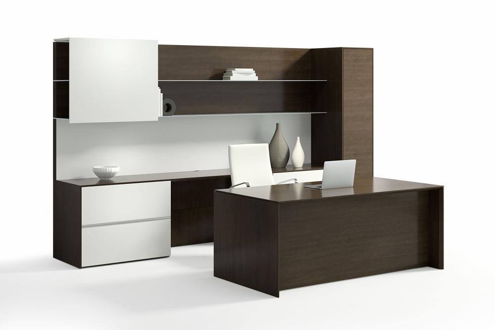 Preview of Merino | Casegood | G30 Zinc Quartered Walnut Veneer | Height Adjustable Desk | Seated Height