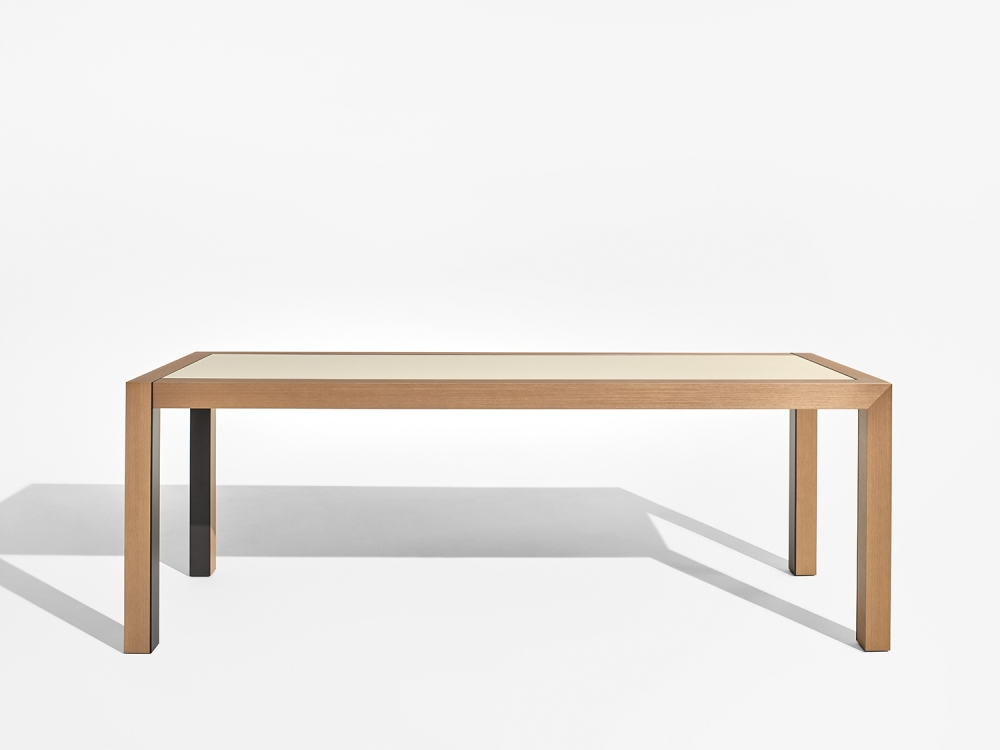 Preview of Epono   Community Table   Silver Birch Linea   Linoleum Top   Storm Powdercoat Metal Accents   Standing Height   Side View