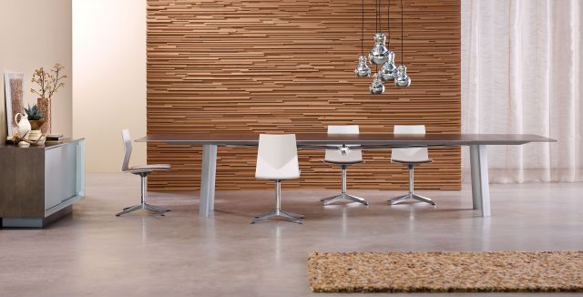Kai | Conference Table | Rectangle Veneer Top | Clear Anodized Metal Legs | Matching Credenza