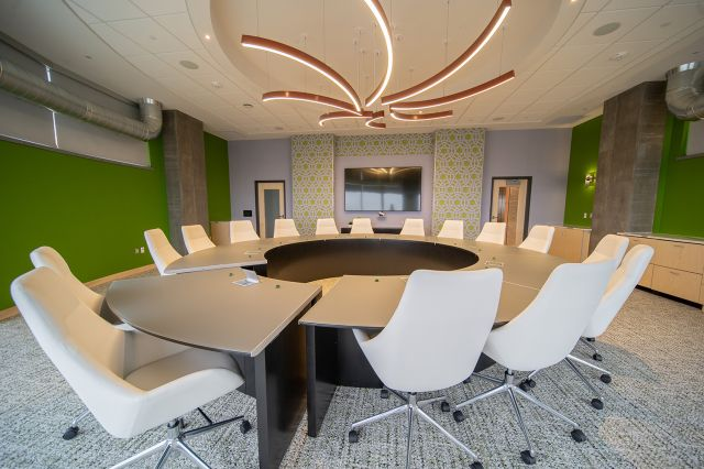 Custom | Conference Table | Custom Satin Glass Top | Onyx Veneer Base | Movable Section | Summit Credit Union
