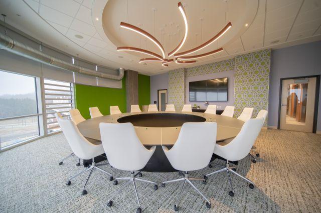 Custom | Conference Table | Custom Satin Glass Top | Onyx Veneer Base | Summit Credit Union